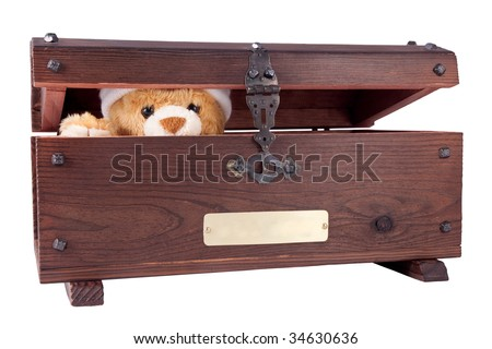 Semi-opened chest with a teddy bear in it. - stock photo