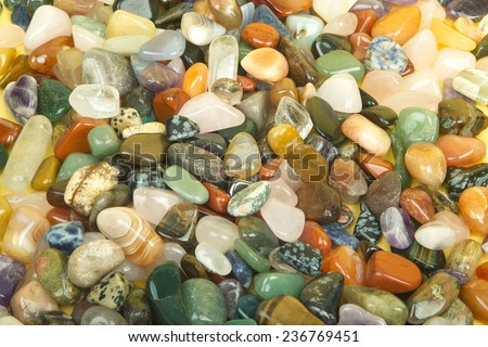 Semi precious jewelery stones closeup - stock photo