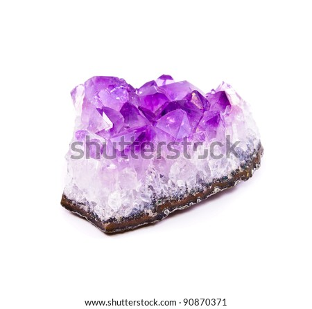 Semi-precious stone Amethyst. Isolated on white background