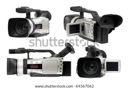 Semi professional video camcorders isolated over white background set - stock photo