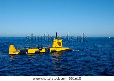 Semi-submarine with glass bottom so tourists can see the marine life outside Santa Catalina island. Southern California.