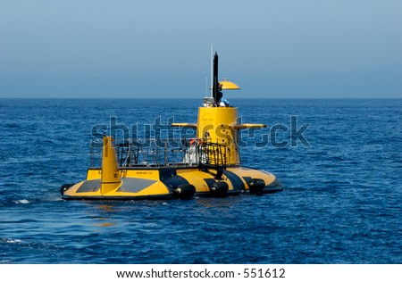 Semi-submarine with glass bottom so tourists can see the marine life outside Santa Catalina island. Southern California. - stock photo