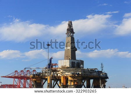 Semi Submersible Drilling Rig - stock photo
