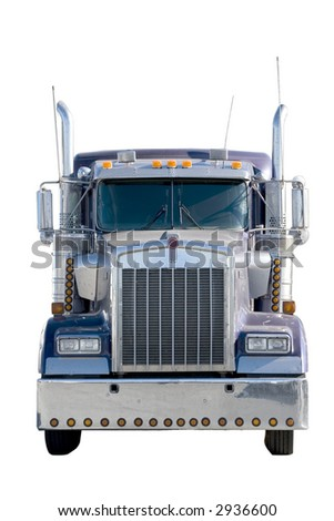 semi tractor front isolated on white - stock photo