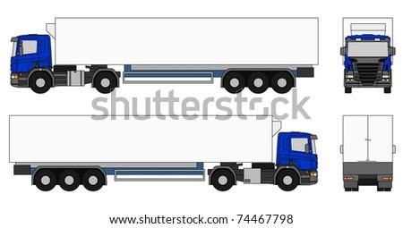 Semi-trailer truck - stock photo