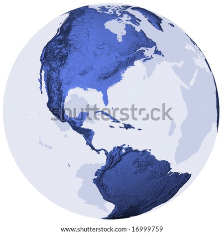 Semi-transparent globe with surface relief, centered on America. Isolated on white with clipping path. - stock photo