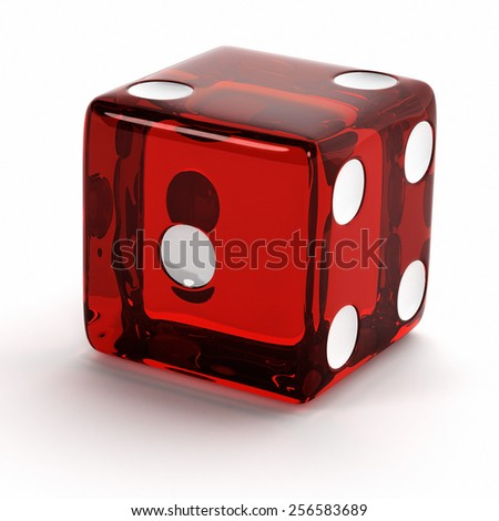 Semi transparent red die close up over white background. - stock photo