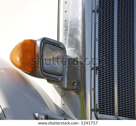 Semi Truck Headlight - stock photo