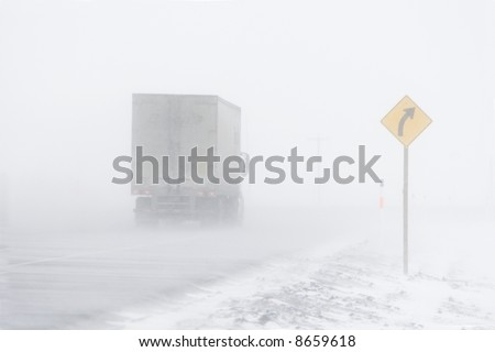 Semi Truck in Blowing Snow