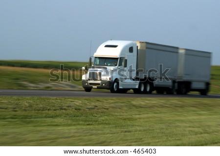 Semi-Truck - Panned Shot - stock photo