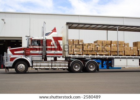 Semi truck with boxes for load