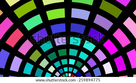 Semicircles of multicolored blocks on a black background. - stock photo