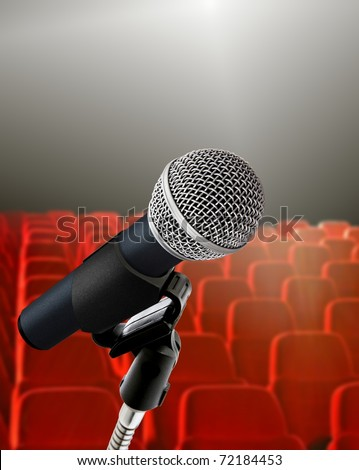 seminar hall and microphone - stock photo