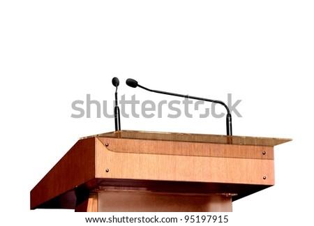 Seminar podium over white - stock photo