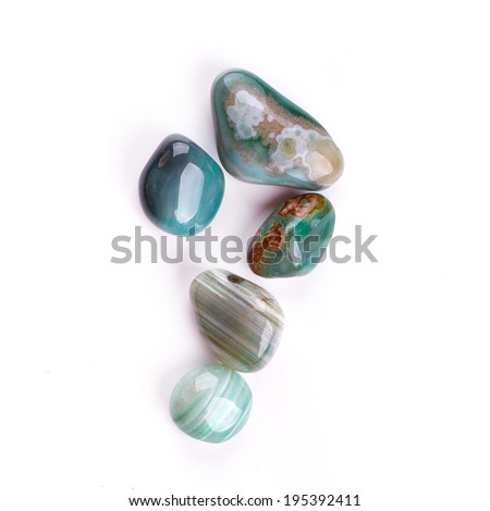 Semiprecious stones isolated on white background - stock photo