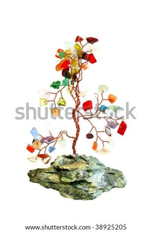 Semiprecious stones tree isolated on white background - stock photo