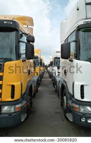 Semitrailer Heads Side By Side - stock photo