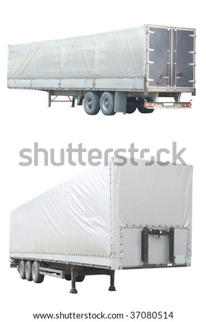 semitrailers under the white background
