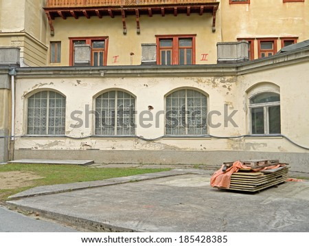 SEMMERING, AUSTRIA - 02  April 2014: The grand hotel Suedbahnhotel was opened in 1882 after Semmering was made accessible by train. The hotel business ended in the 1960s.  - stock photo