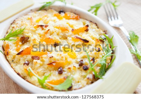 semolina casserole with dried apricots, closeup