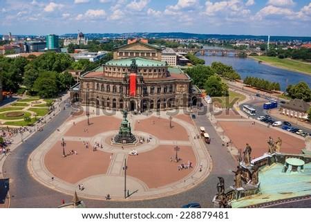 Semper Opera House, Dresden, Germany. Cityscape. Skyline - stock photo