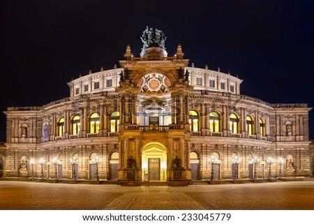Semper Opera House (Semperoper) by night, Dresden, Saxony, Germany - stock photo