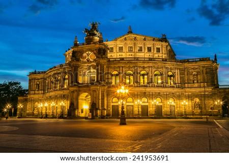 Semper opera in Dresden in beautiful summer night - stock photo