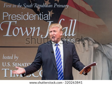 Sen. Tim Scott and Donald Trump held a Town Hall Meeting at the Koger Center on September 23, 2015 in Columbia S.C. Trump successfully connected to the full audience using his trademark humor. - stock photo