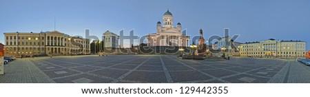 Senate Square in Helsinki. Stitched Panorama - stock photo