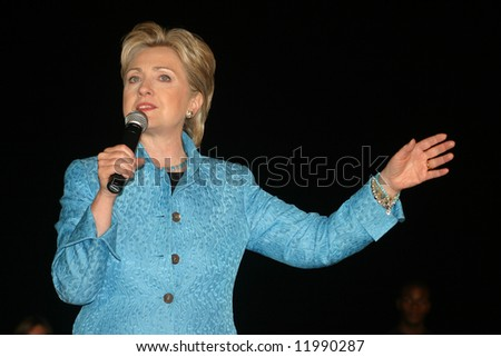 Senator Hillary Clinton at presidential campaign rally in Wilmington, NC, on 4/28/08 - stock photo