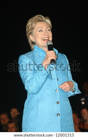 Senator Hillary Clinton at presidential campaign rally in Wilmington, NC, on April 27, 2008 - stock photo