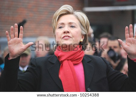 Senator Hillary Clinton campaigning for president during winter 2008, defensive posture - stock photo