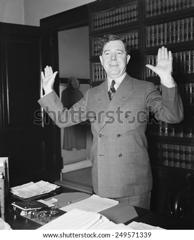 Senator Huey Long at the Capitol. Jan. 1935. The left wing populist advocated his 'Share Our Wealth' program. - stock photo