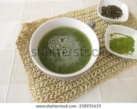 Sencha green tea with matcha - stock photo