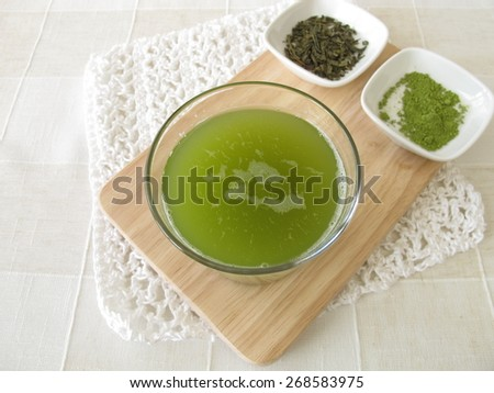 Sencha green tea with matcha - stock photo