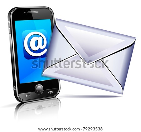 Send a letter icon - mobile phone concept showing email communication by phone - raster version - stock photo