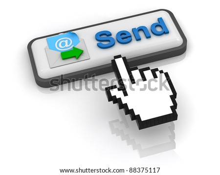 Send e mail button with computer hand cursor