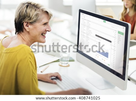 Send Email Business Chart Attachment Report Concept - stock photo