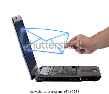 send email envelope in a laptop - stock photo
