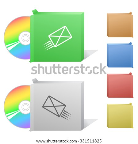 send mail. Box with compact disc. Raster illustration. - stock photo