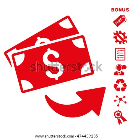 Send Money icon with bonus pictograms. Glyph illustration style is flat iconic symbols, red color, white background, rounded angles.