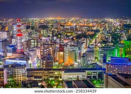 Sendai, Japan downtown city skyline at night. - stock photo