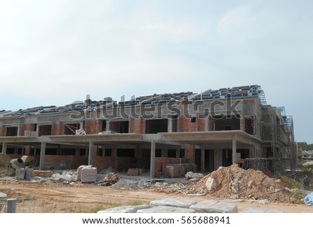 SENDAYAN, MALAYSIA -JANUARY 27, 2017: Facade of two story luxury terrace house under construction in Sendayan, Malaysia.
