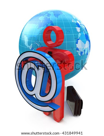 Sending an e-mail when creating a design-related information to support. 3d illustration - stock photo