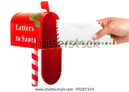 Sending letter to Santa - stock photo