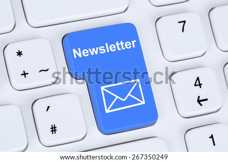 Sending newsletter on internet for business marketing campaign with letter symbol - stock photo