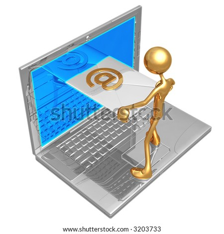 Sending Receiving E-Mail Through Laptop Screen - stock photo