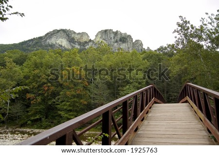 Seneca Rocks bridge - stock photo