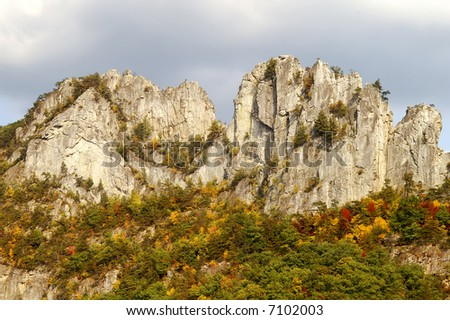 Seneca Rocks West Virginia in Autumn Horizontal