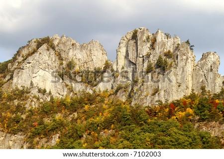 Seneca Rocks West Virginia in Autumn Horizontal - stock photo